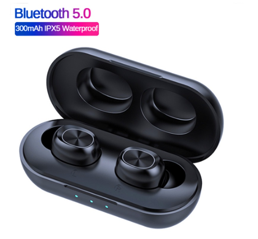 Wholesale Bluetooth 5.0 Waterproof Touch Tontrol Wireless Headphone with 300mAh Charging Case - Black