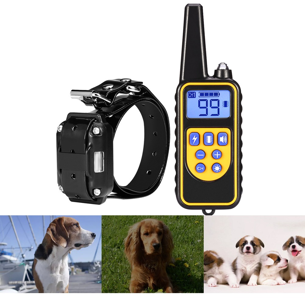 880 IP6X Waterproof Rechargeable Electric Dog Training Collar with 800 Meter Remote Control