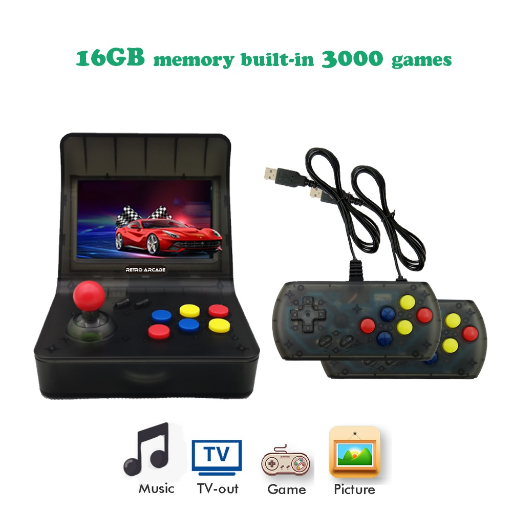 Wholesale High-definition Color Screen Mini for PSP Handheld Arcade Double Game Console Nostalgic for GBA - Black