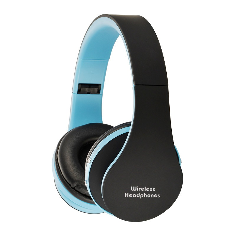 Wholesale NX-8252 Foldable Wireless Bluetooth Headphones with Built-in Microphone and 3.5mm Audio Port - Black Blue