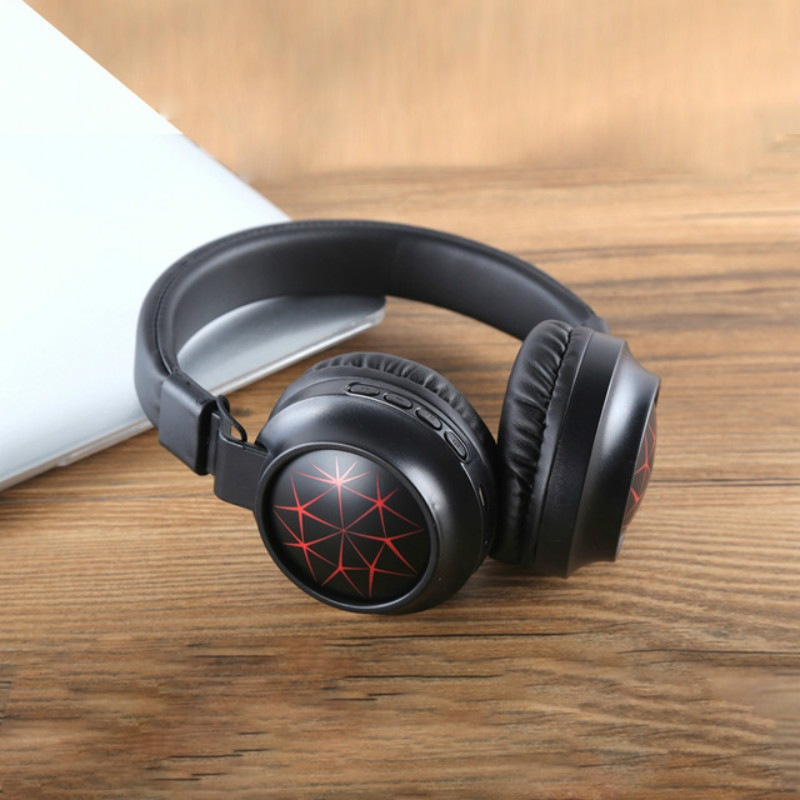Wholesale MS-K21 Foldable Wireless Bluetooth 5.0 Headphones Stereo Headset Adjustable Earphone with Magic Light, Microphone - Red