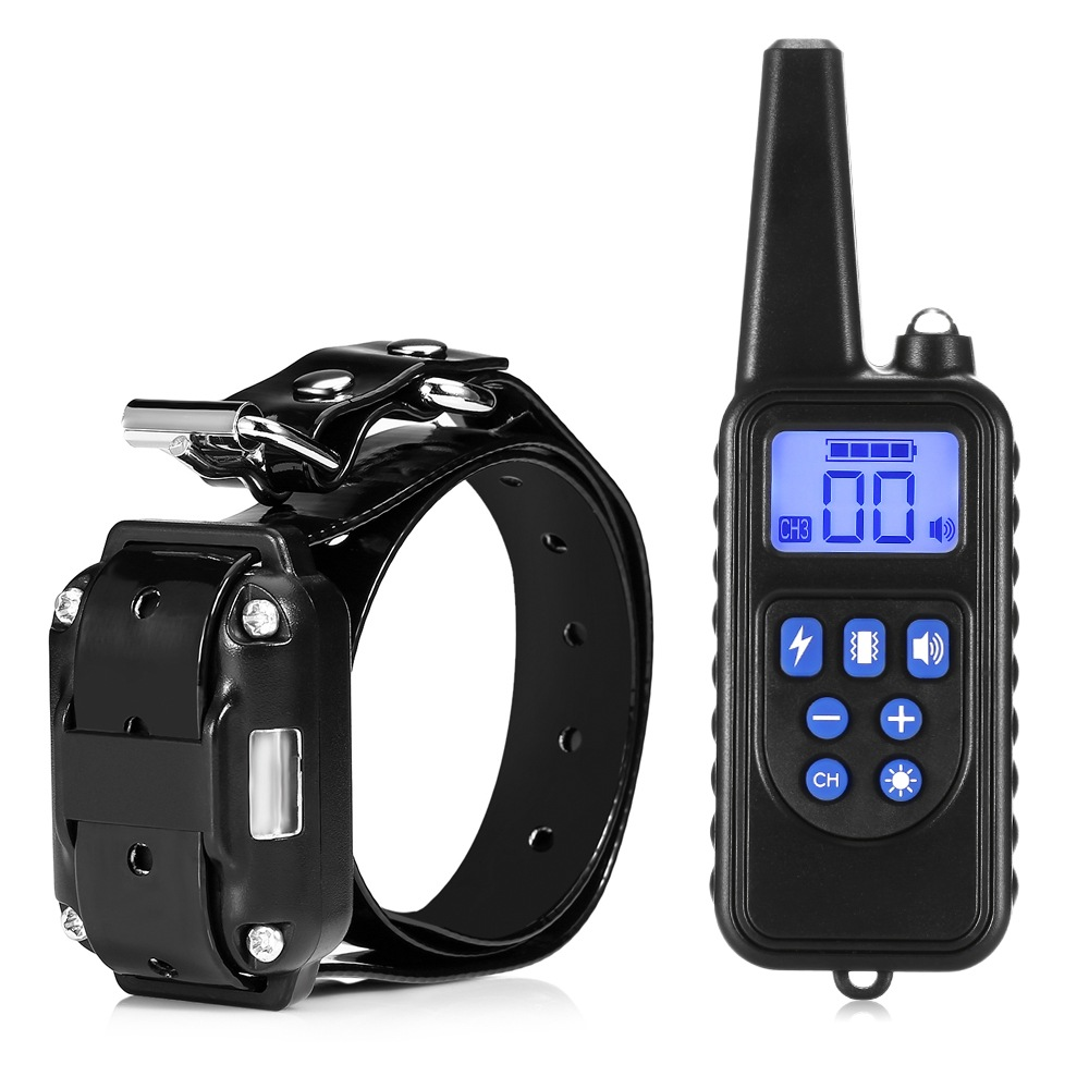 Wholesale 880 IP67 Waterproof Rechargeable Dog Training Collar (800m Remote Control, Backlight LCD, Black)