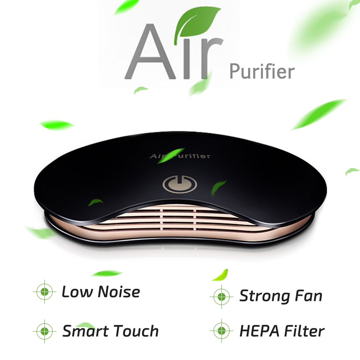 Wholesale Formaldehyde Smell Removal Car Air Purifier Anion Ionizer Household Sterilize Auto Air Freshener - Black