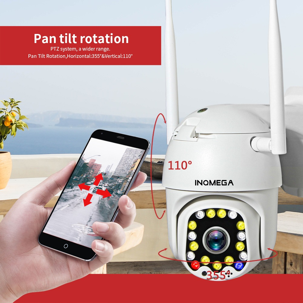 INQMEGA HD Wireless Outdoor Speed Dome Surveillance Camera with IP66 Waterproof, Smart Pan/Tilt, Dual Flash Alarm