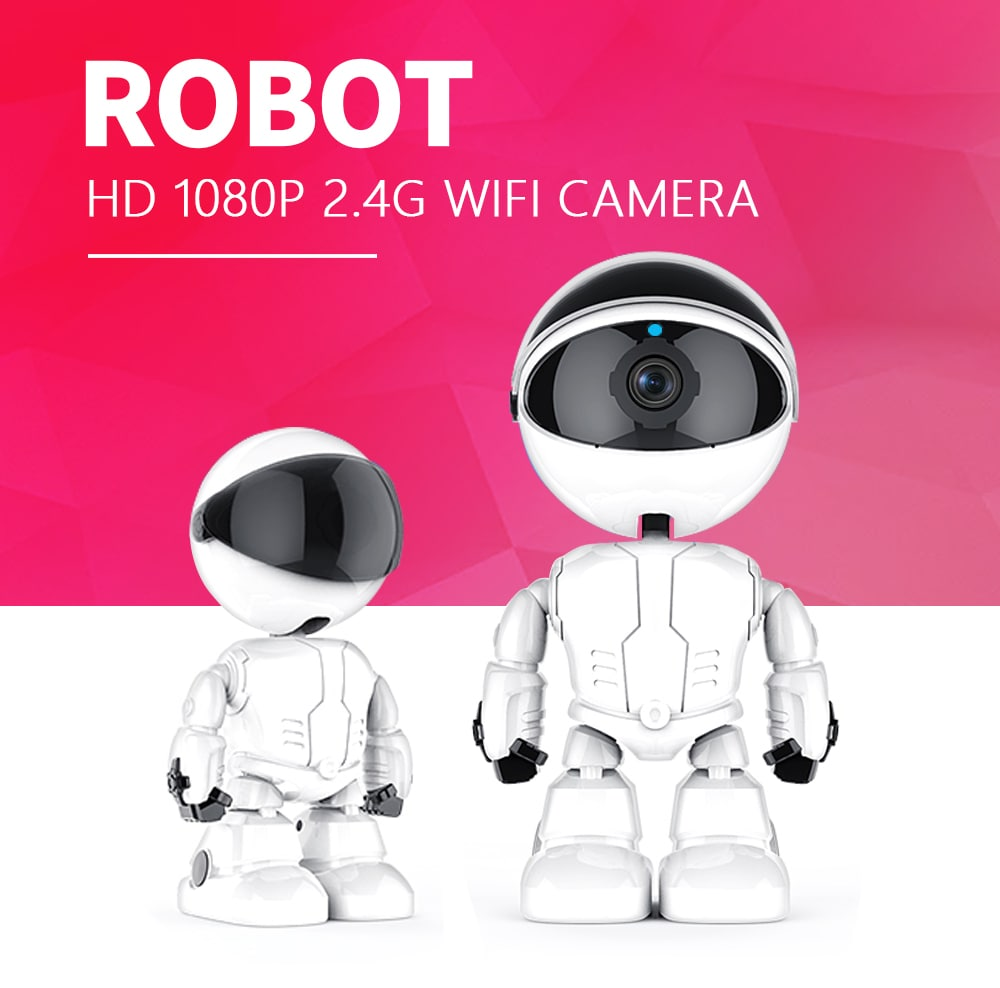 Wholesale INQMEGA Robot Shaped Home 1080P HD Cloud Wireless Security IP Camera with PTZ, WiFi, Two Way Audio for Kids