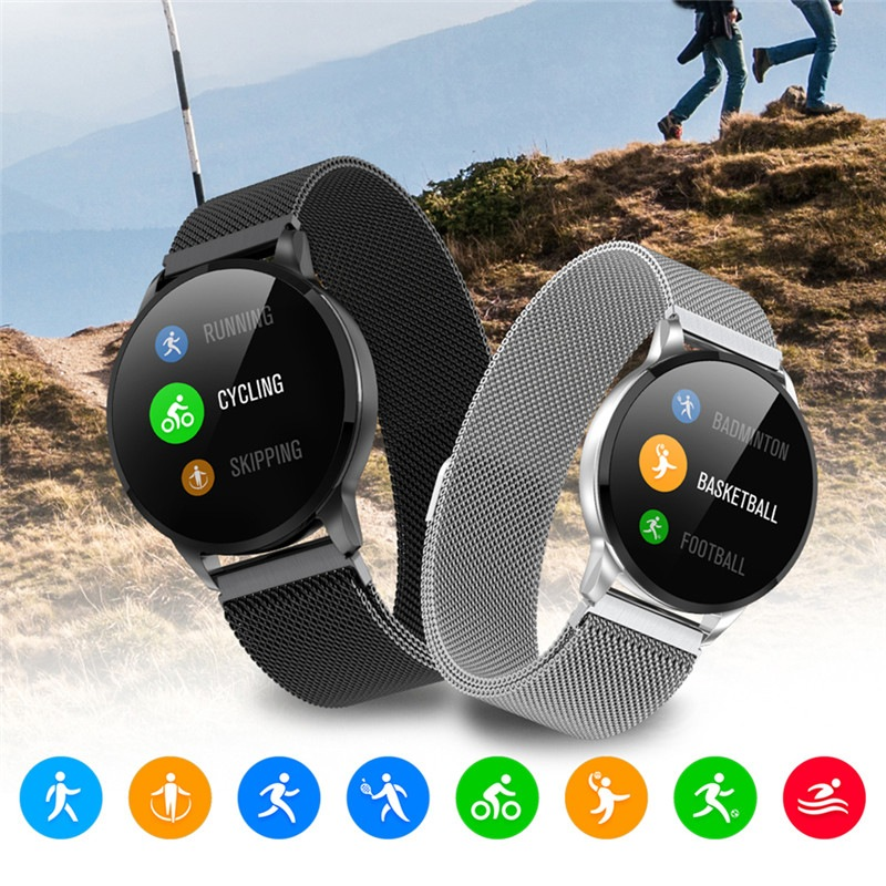 Wholesale 1.22 Inch Bluetooth Smart Watch with IP67 Waterproof, Sports Fitness Tracker, Heart Rate Monitor, Camera Remote Control - Black