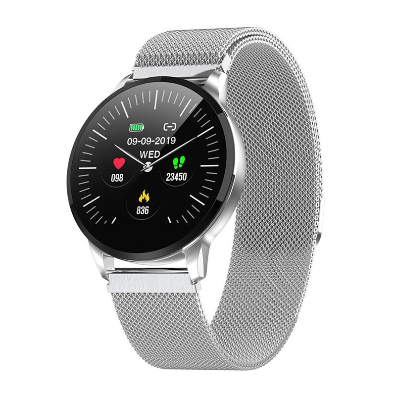 Wholesale 1.22 Inch Bluetooth Smart Watch with IP67 Waterproof, Sports Fitness Tracker, Heart Rate Monitor, Camera Remote Control - Silver