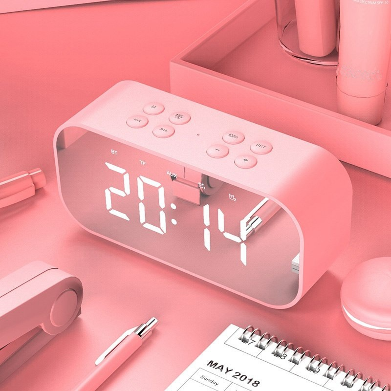 Portable Wireless Bluetooth Speaker Column Subwoofer Music Sound Box LED Time Snooze Alarm Clock - Pink