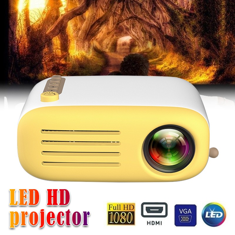 Wholesale LED Projector 600 Lumen 3.5mm Audio 320x240 Pixels Support 1080P HDMI USB Mini Portable Media Player - YELLOW
