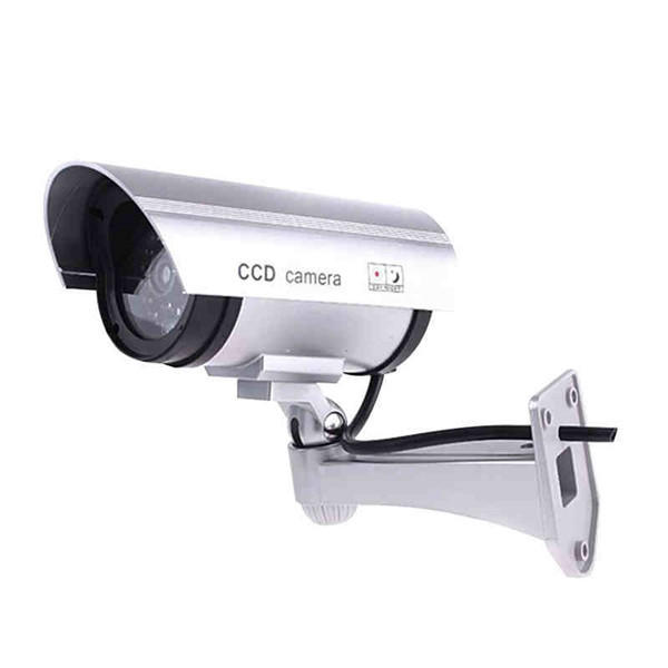 Wholesale CA-11-01 Dummy Fake Outdooors Waterproof Surveillance CCTV Security Camera Flashing Red Led Light - Silver