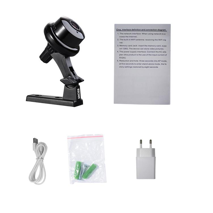 ESCAM Button Q6 Mini 1080P IP Night VIsion WiFi Camera Support to 128GB Card Motion Detect Audio