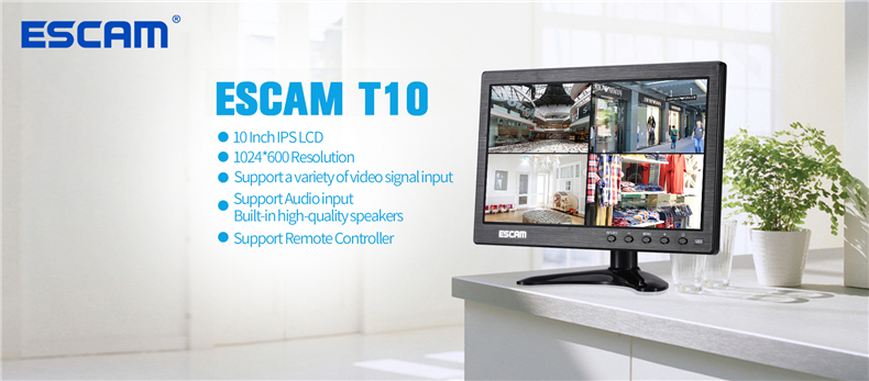 ESCAM T10 10 inch TFT LCD 1024x600 Monitor with VGA HDMI AV BNC USB for PC CCTV Security Camera