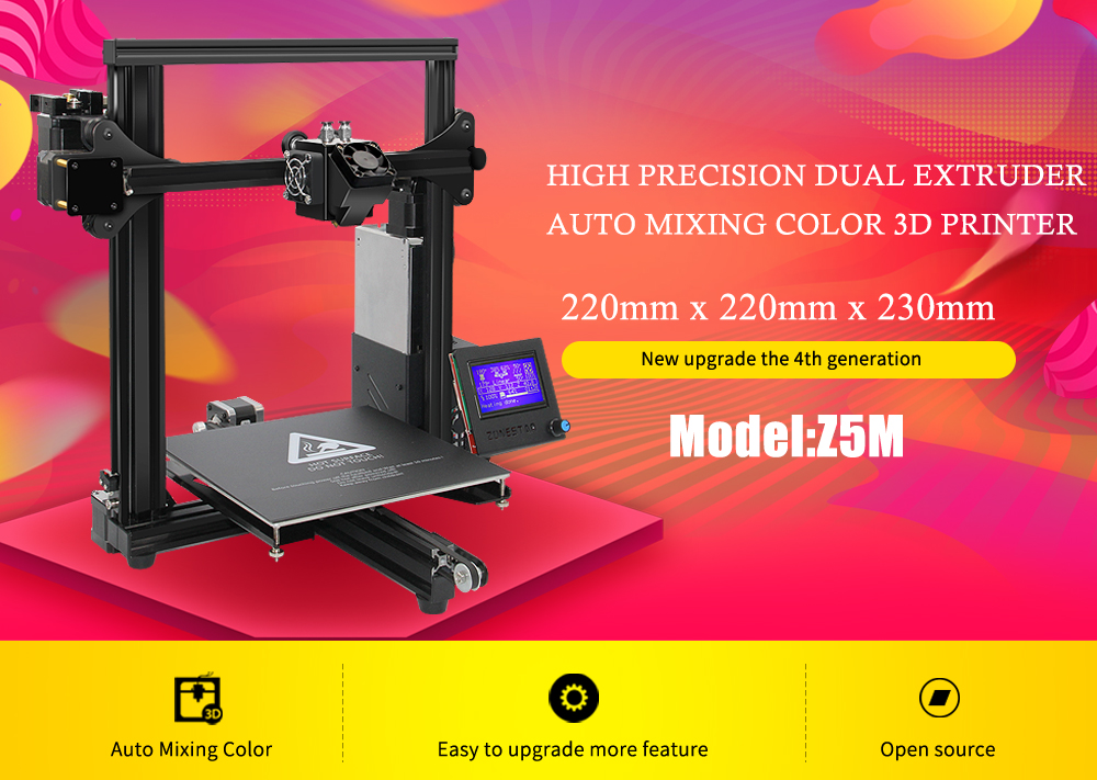 Zonestar Z5M2 DIY 3D Printer Kit With Auto-leveling Function Single/Dual/Mixed Color Print 220x220x220mm Printing Size 1.75mm 0.4m
