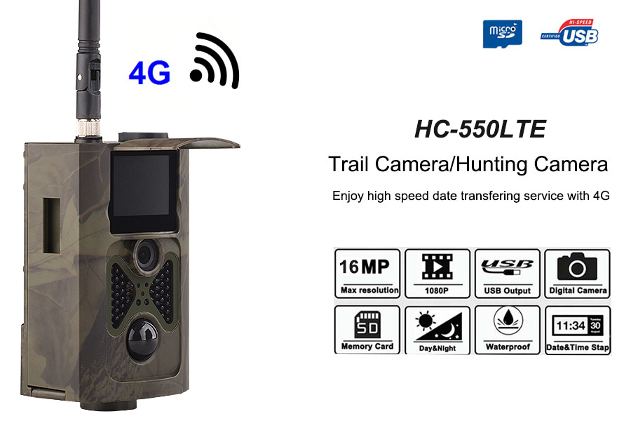 HC-550LTE 16MP 4G Waterproof 1080p HD Hunting Trail Camera Wildlife Track with Waterproof, Motion Detection, Night Vision