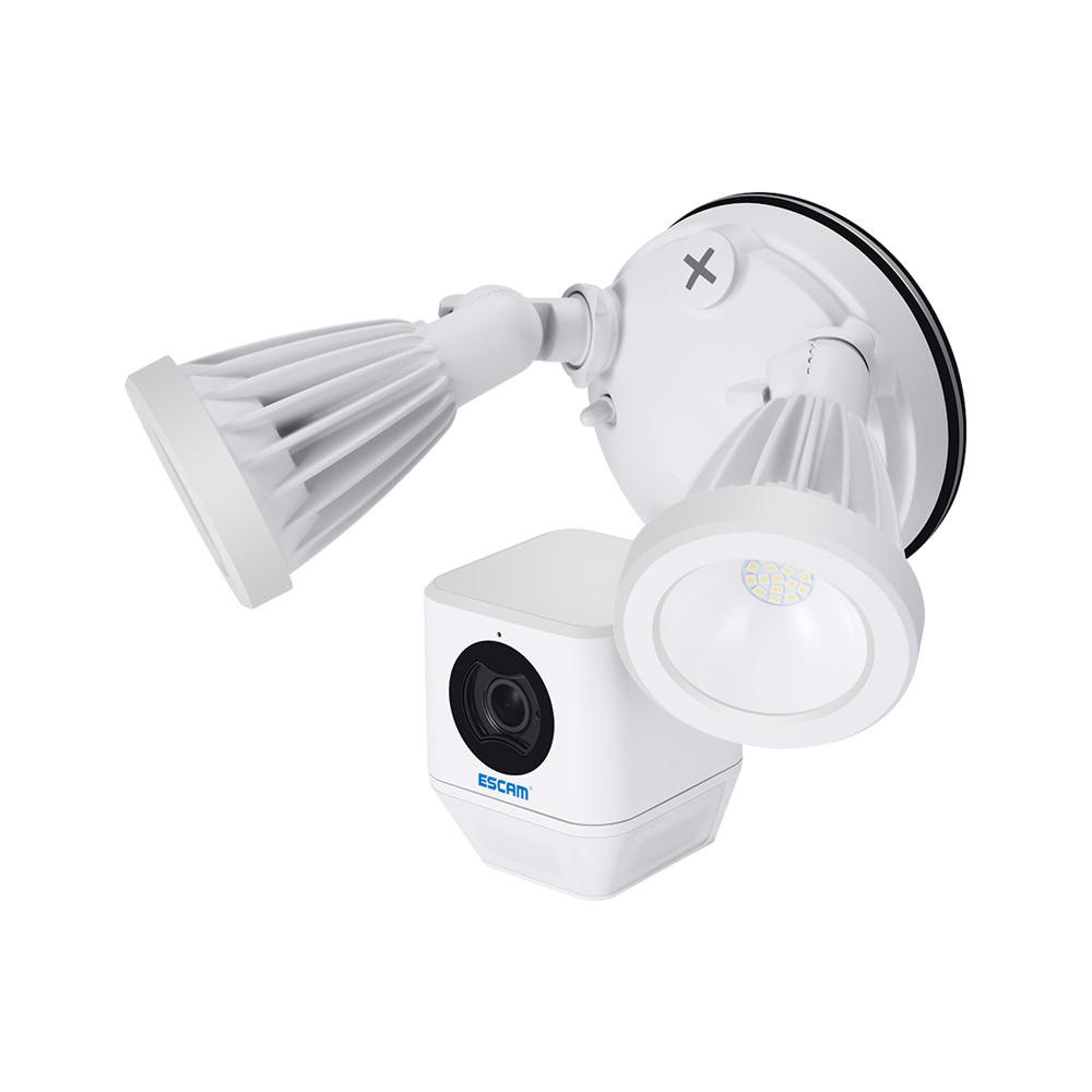 Wholesale ESCAM QF608 1080P LED Floodlight WiFi IP Camera PIR Detection Alarm HD Security Two Way Talk Remote S iren - White