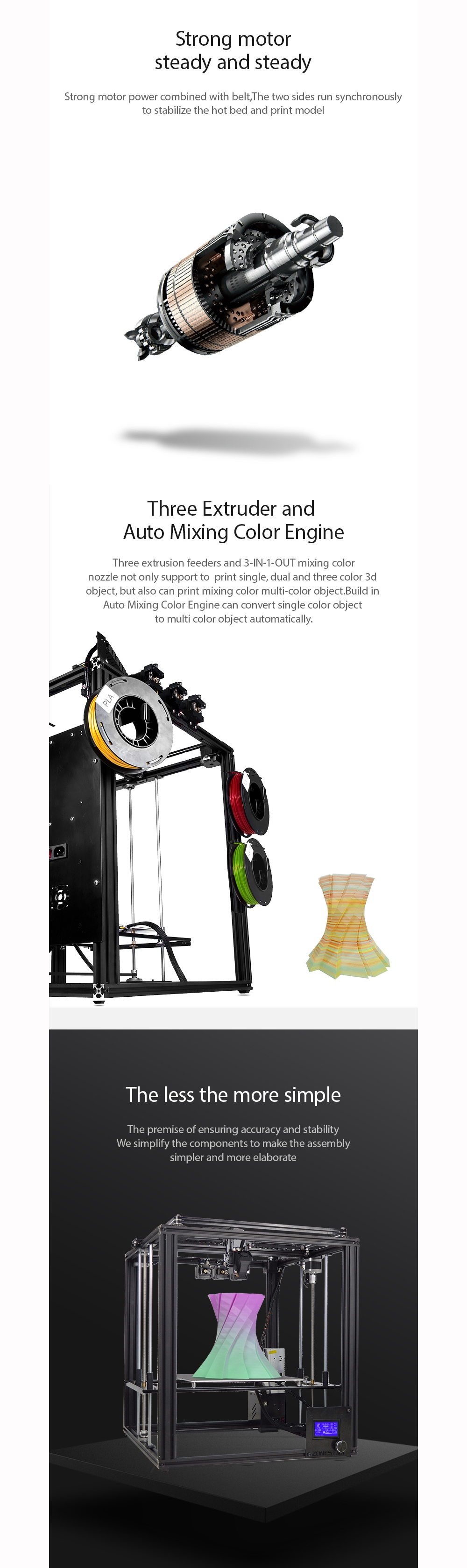 Zonestar Z9M3 3-in-1-out Mixed Color Full Metal 3D Printer 300*300*400mm Printing Size With Three Extruder/Auto Mixing Color Engin