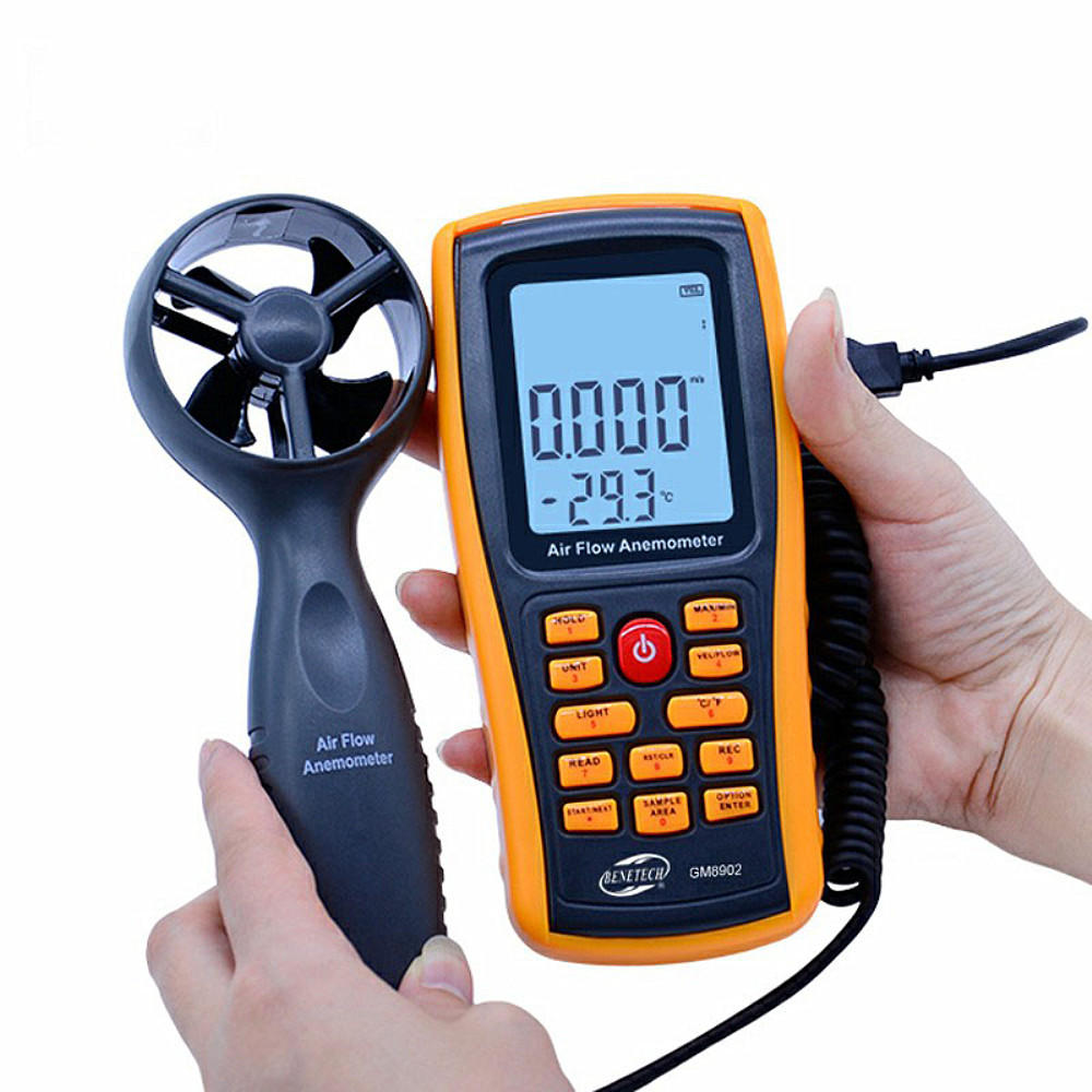 Wholesale GM8902 0-45M/S Digital Anemometer Wind Speed Meter Air Volume Ambient Temperature Tester With USB Interface