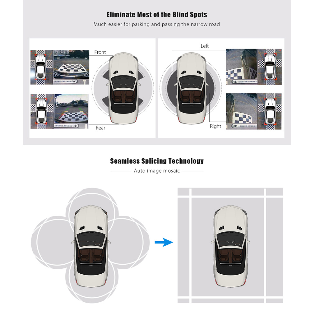 Starlight Universal 360 Degree Bird View Panoramic System with 4 Cameras (Night Vision, Waterproof, Parking Car DVR Recording)