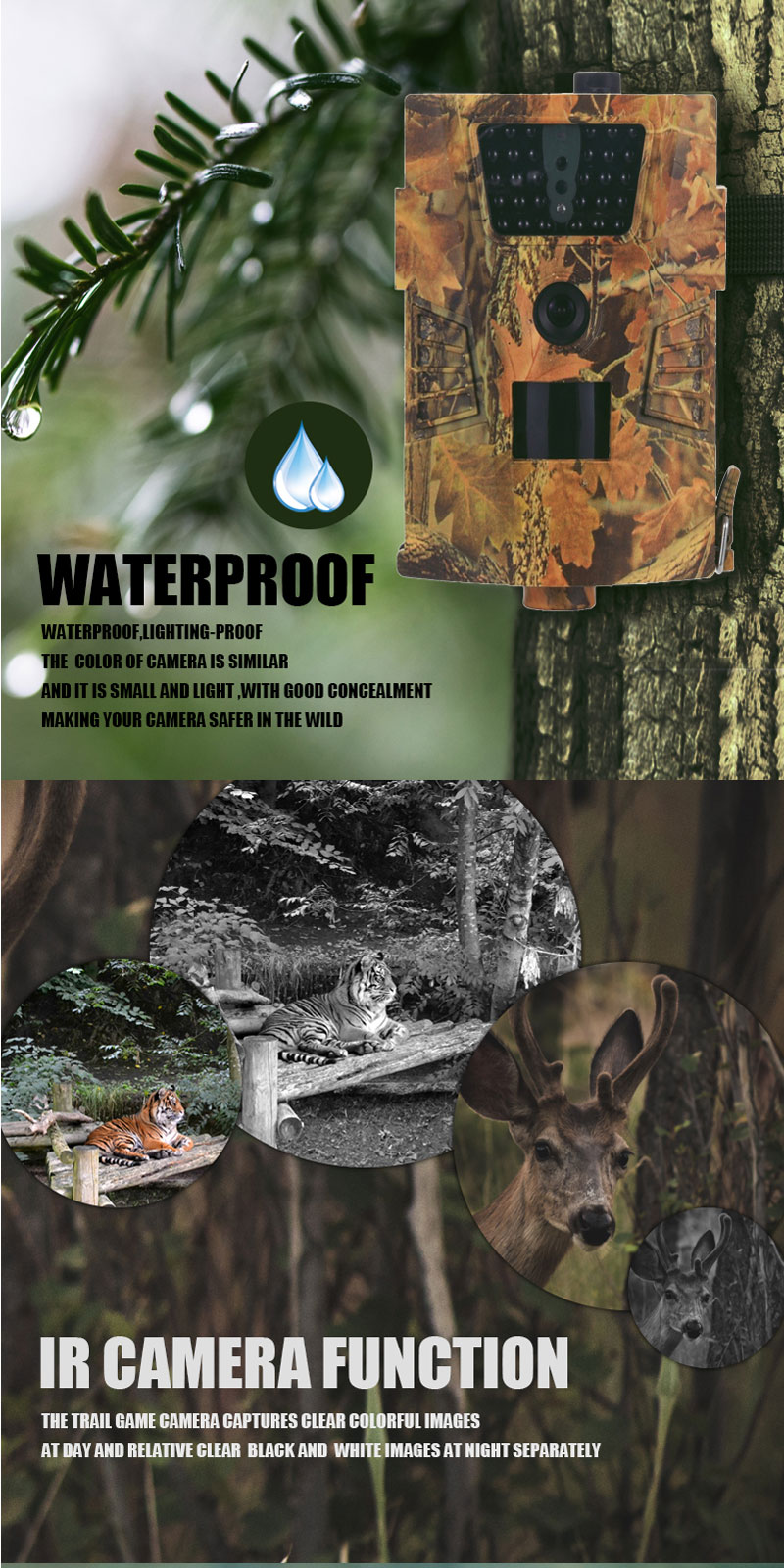 HT-001B 12MP 30pcs IR LED 1080P Waterproof Hunting Trail Track Wildlife Camera Night Vision