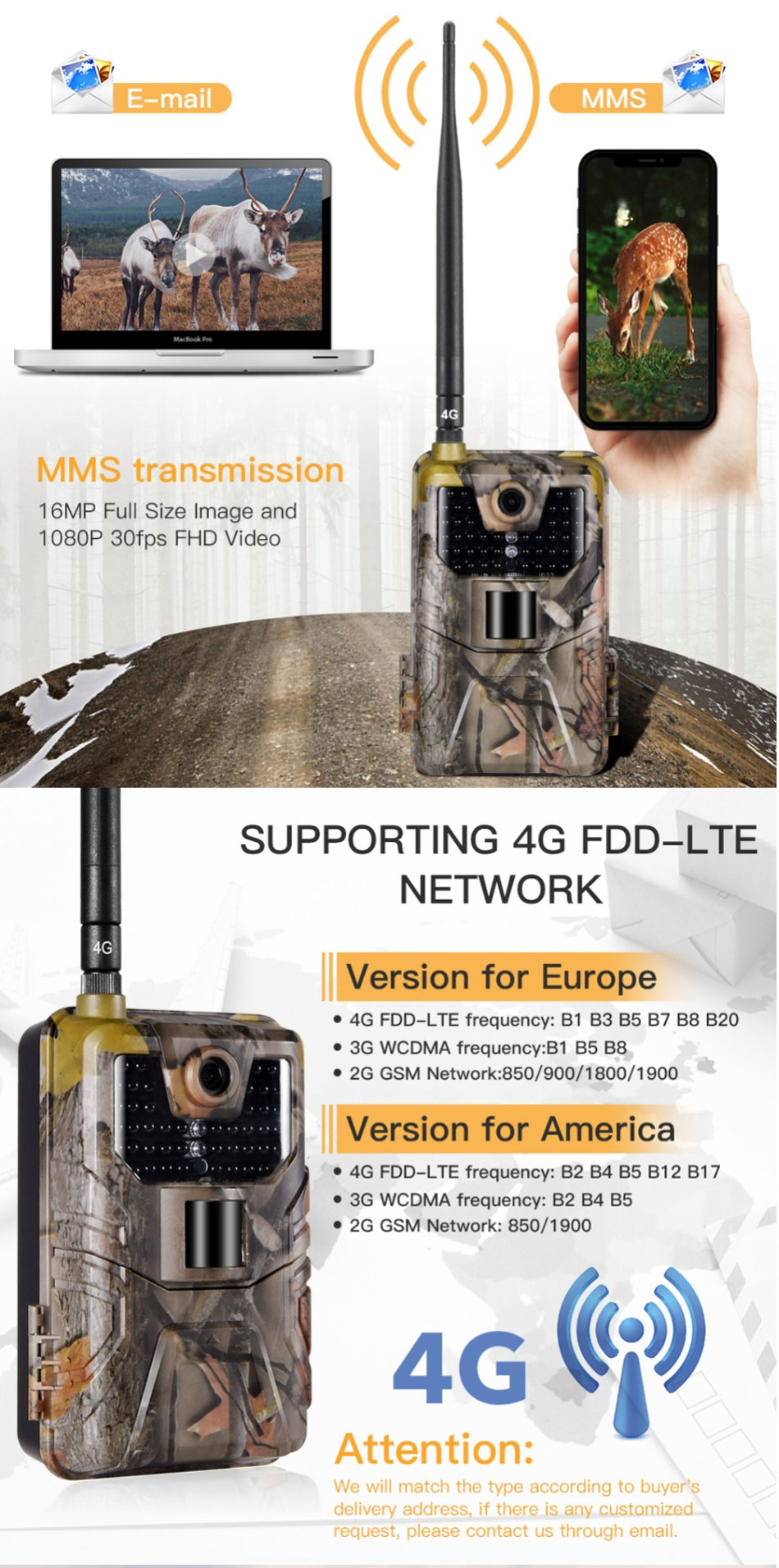 HC-900LTE 16MP 4G 1080P HD Waterproof Hunting Trail Track Camera with 44 IR LEDs Night Version
