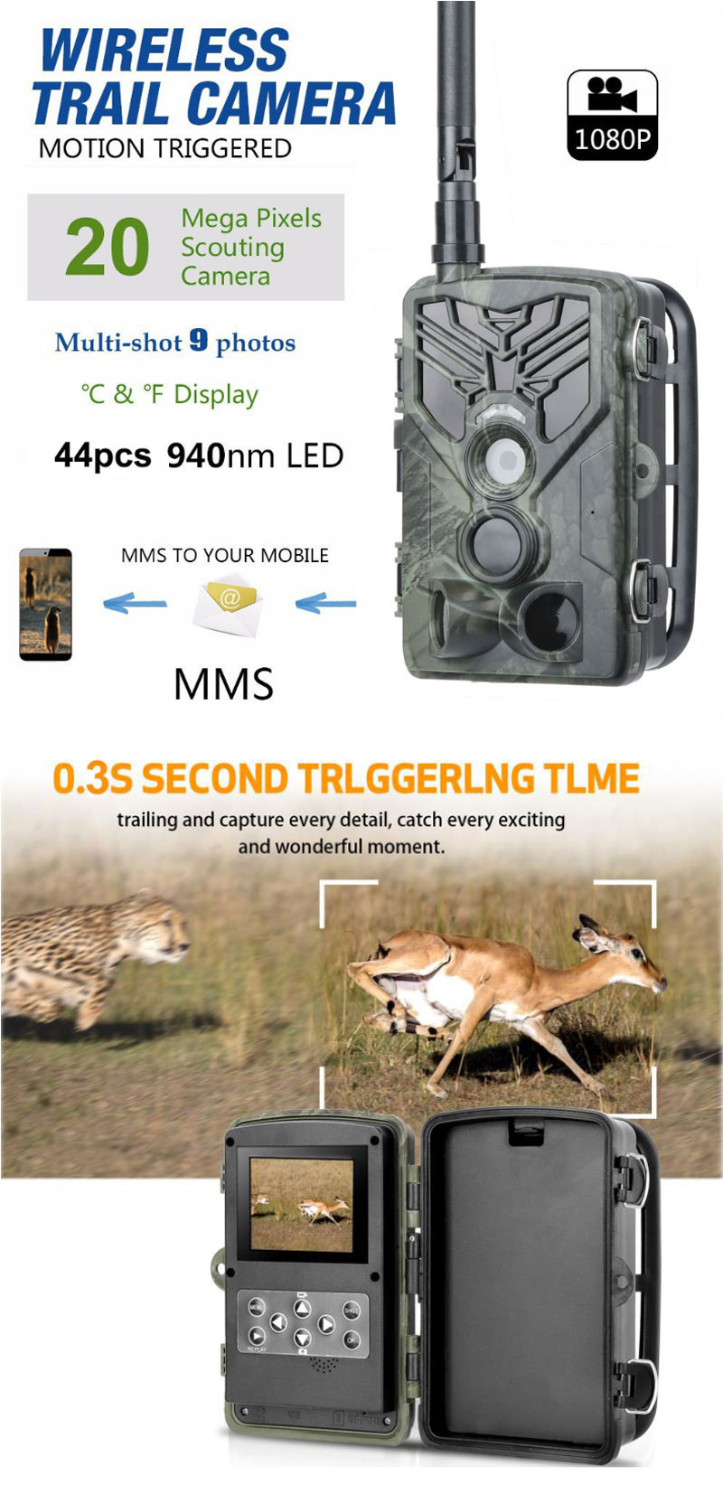 HC-810LTE 20MP 4G 1080P HD Waterproof PIR Hunting Trail Track Camera with Night Version, SMS/MMS