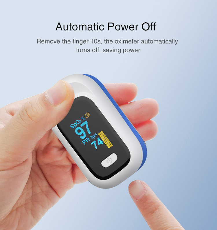 Mini OLED Finger-Clamp Pulse Oximeter Home Heathy Blood Oxygen Saturation Monitor - Blue
