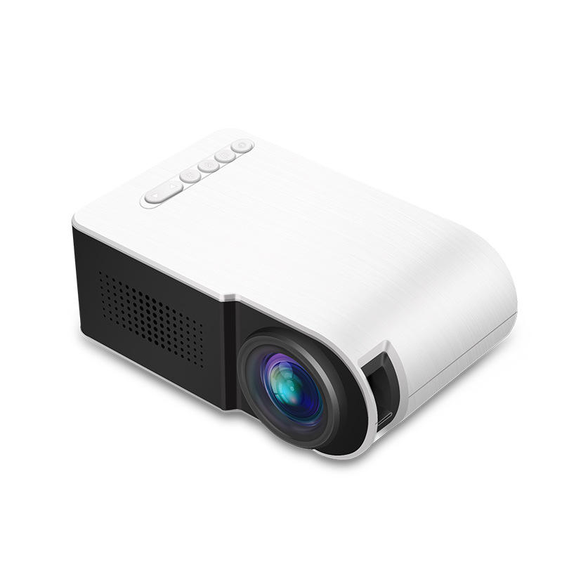 YG210 1080p Mini Home Theater LED Projector with Built-in Speaker and 1300mAh Battery - White