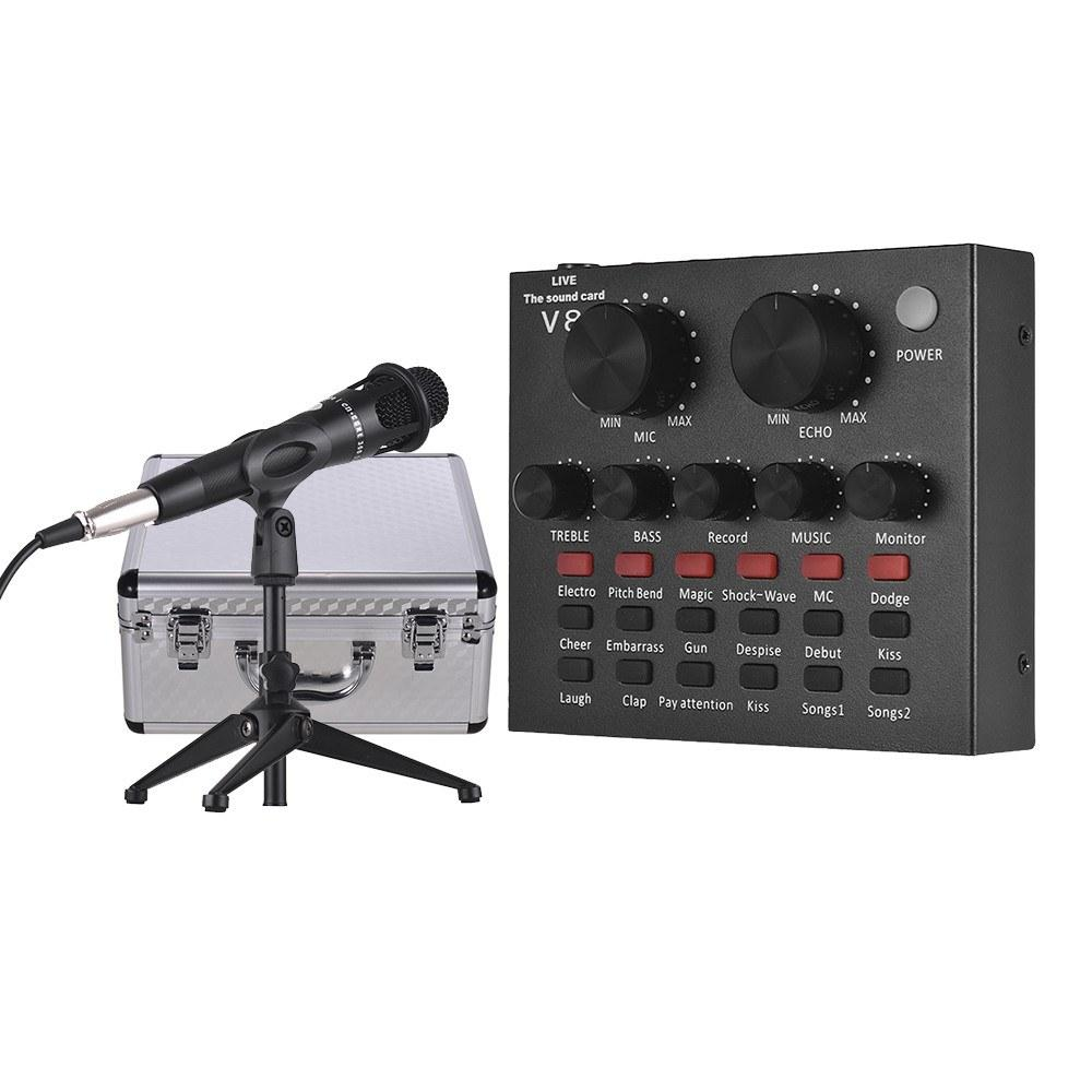 Wholesale USB Sound Card W/ Microphone, Earphone and Tripod Audio Cable for Broadcast Live Streaming