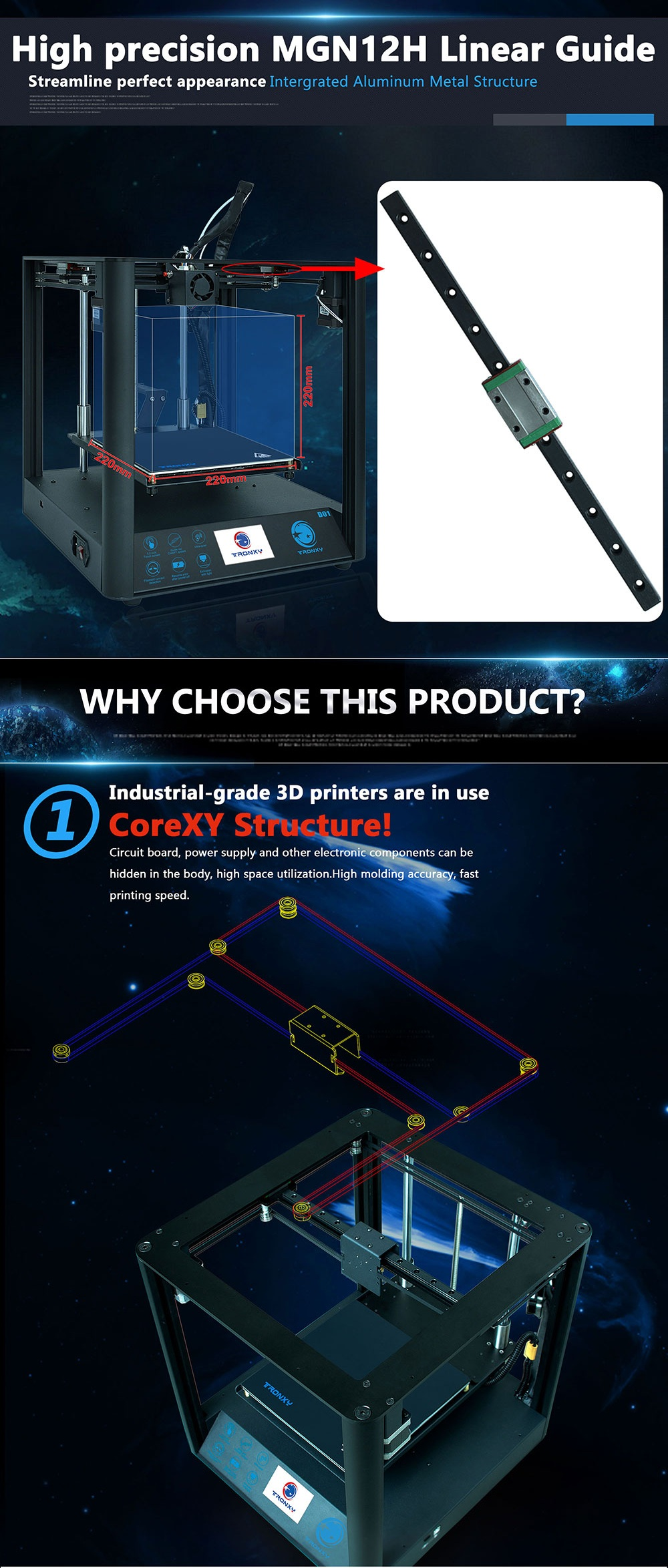 TRONXY D01 Fast Assembly 3D Printer Ultra-Quiet Mode Titan Extruder Acrylic Mask Optional Power Resume Filament Detection