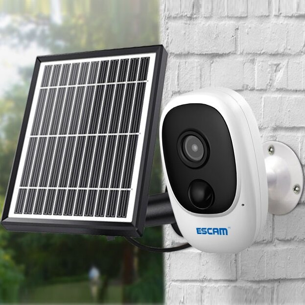 Wholesale ESCAM G08 1080P Wireless Battery Rechargeable PIR IP Camera Solar Panel Audio Card Cloud - Camera+Solar Panel