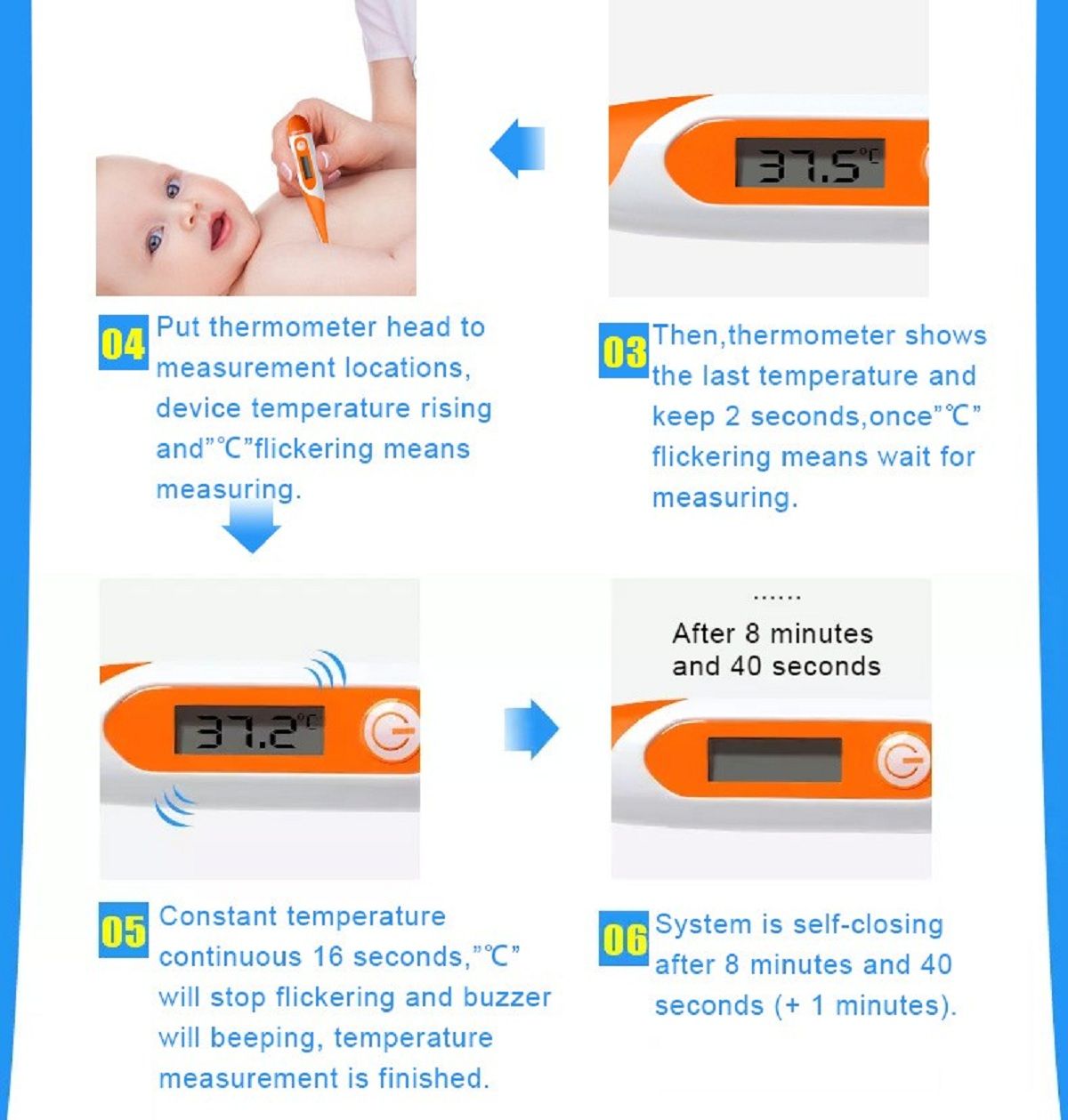 Digital LCD Thermometer with Soft Head - Measure Body Temperature for Baby, Kids, Adult