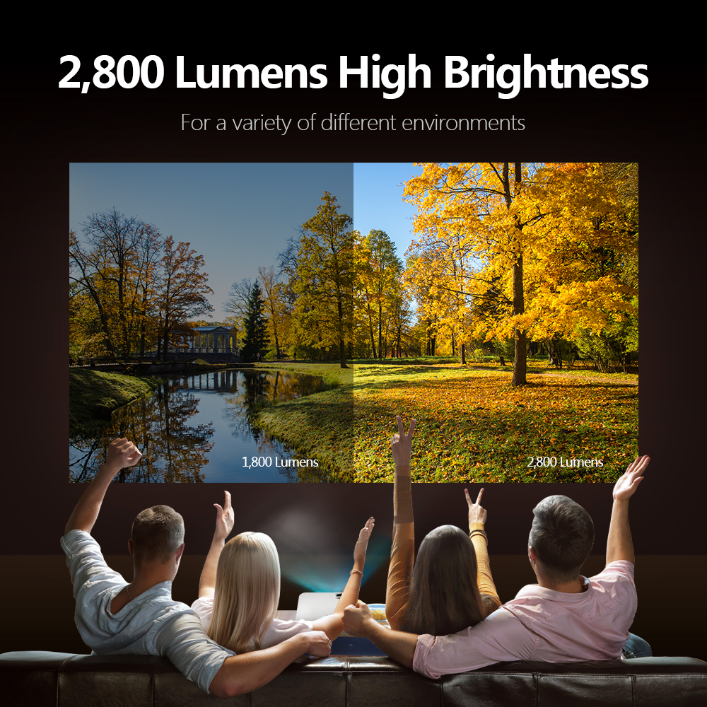 AUN Mini Projector W18C 2800 Lumens 854*480P Wireless Sync Display For Phone LED Portable Home Cinema for 1080P Video Beamer Mirro