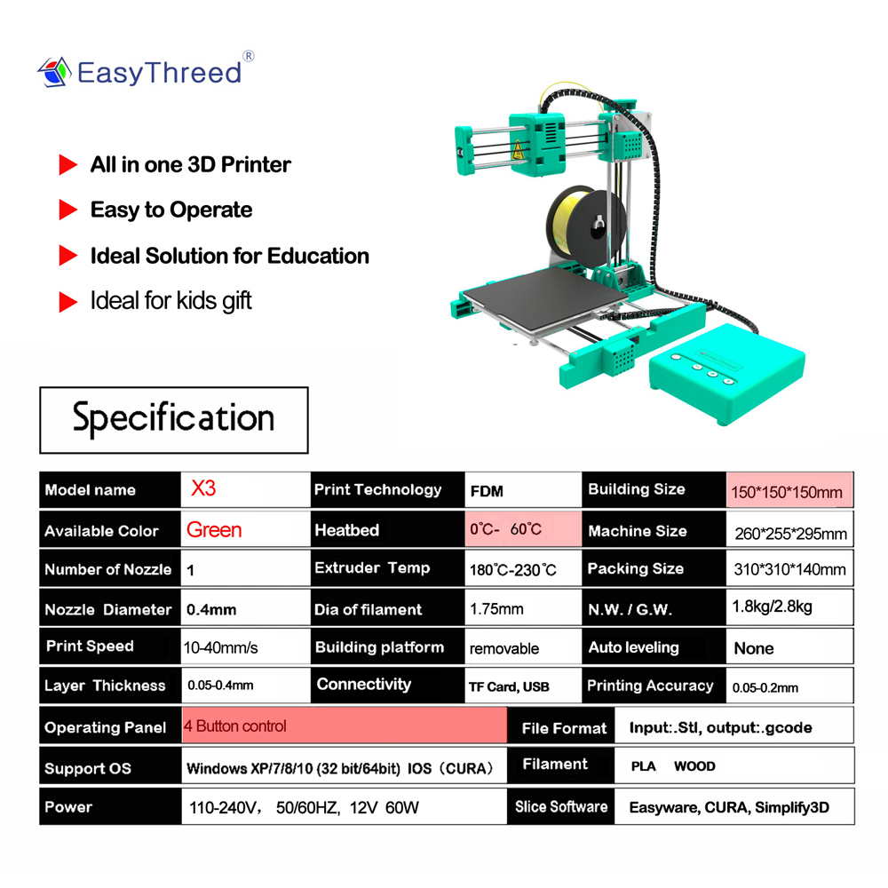 Easythreed X3 Desktop MIni 3D Printer 150*150*150mm Printing Size with Hotbed