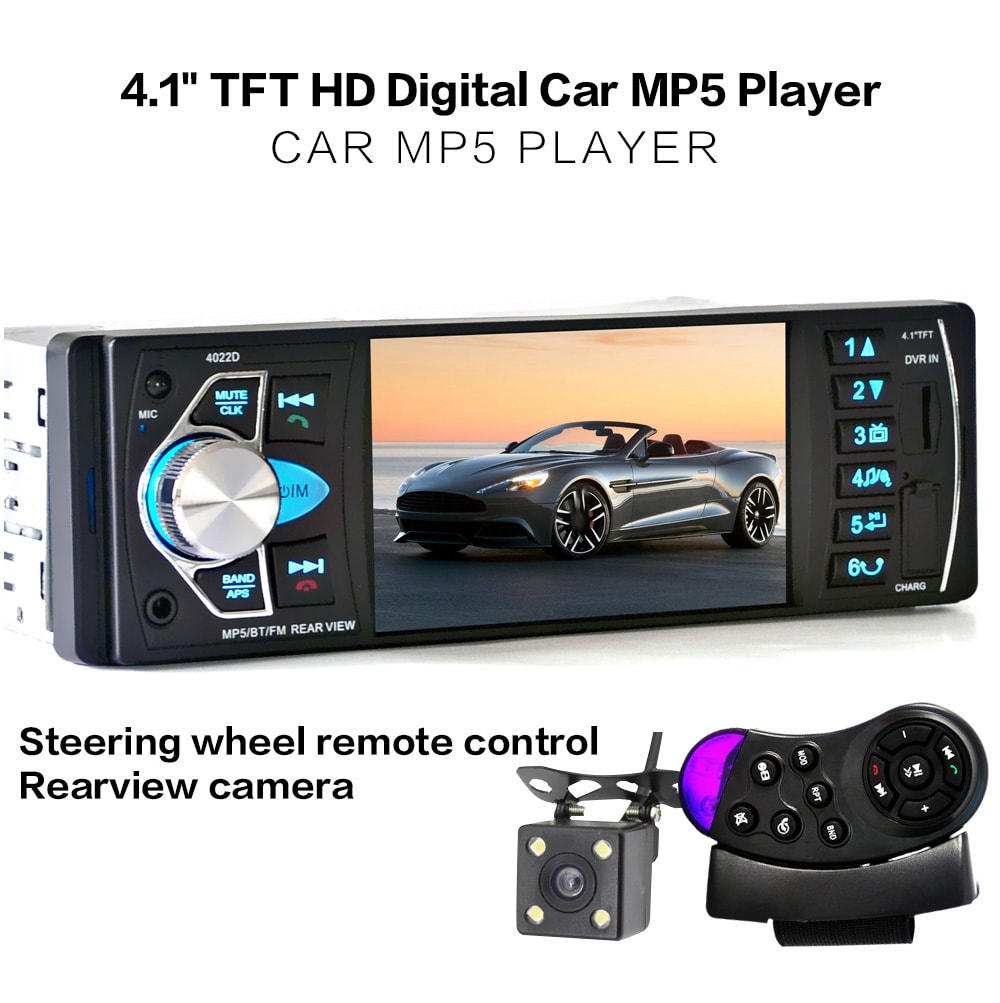 4022D 4.1 Inch Car MP5 Player with Remote Control Camera - Black with camera