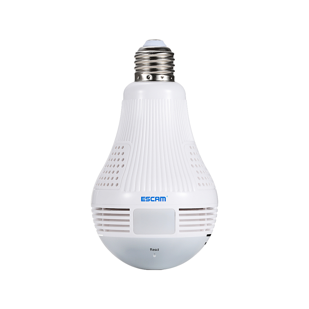 ESCAM QP136 960P 360 Degree Panoramic Fisheyes WiFi IP Camera LED Bulb (Motion Detection, Two Way Audio, Remote Control, White)