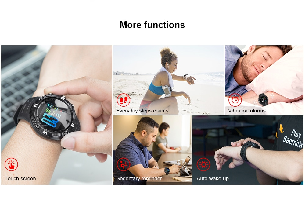 NO.1 F18 GPS Sports Smartwatch with 1.3 Inch HD Display, 15 Days Standby Time, IP68 Waterproof - Lava Red