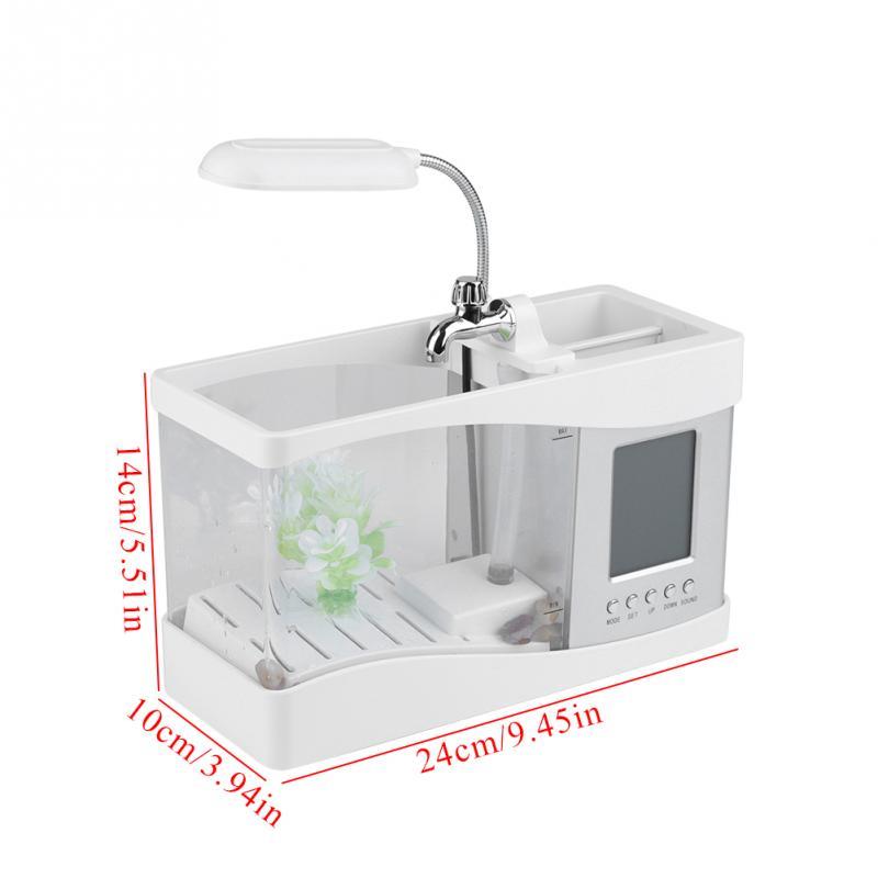 USB Mini Fish Aquarium with LED Lamp, Music, Pen Container, LCD Screen and Clock