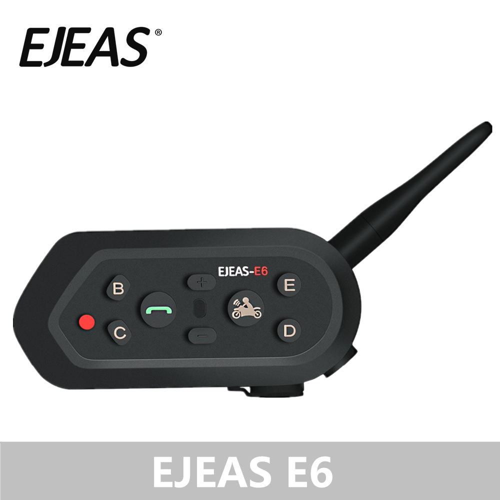 Wholesale EJEAS E6 1200M Intercom Motorcycle Helmet Bluetooth Headset VOX MP3 GPS USB 550mAh Battery for 6 Riders Accessories
