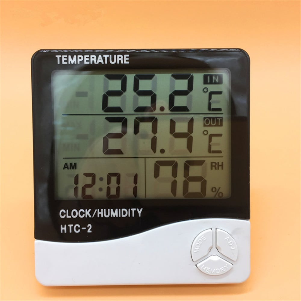 Digital Thermometer Hygrometer Alarm Clock Humidity Measure with LCD Display for Indoor Outdoor - White
