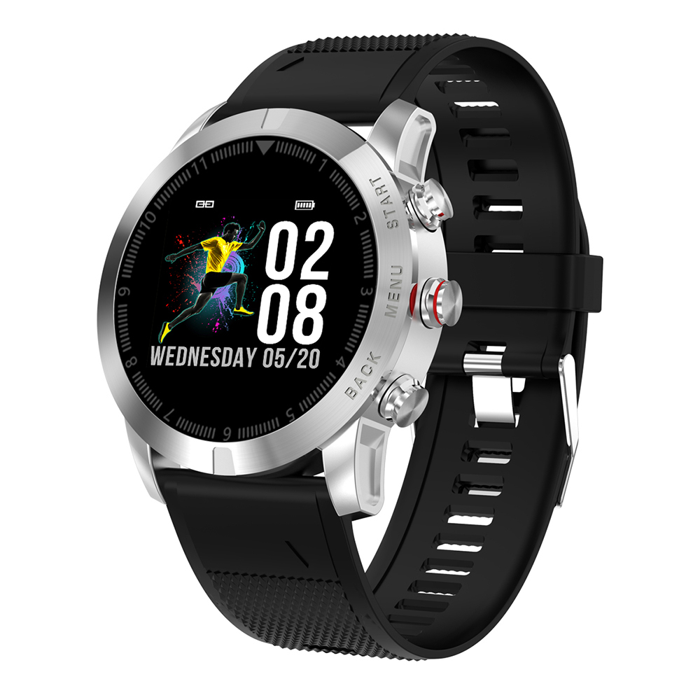 Wholesale NO.I S10 IP68 Waterproof Smart Watch (Heart Rate Monitor, Step Count Sedentary Reminder, Silicone Strap, Silver)