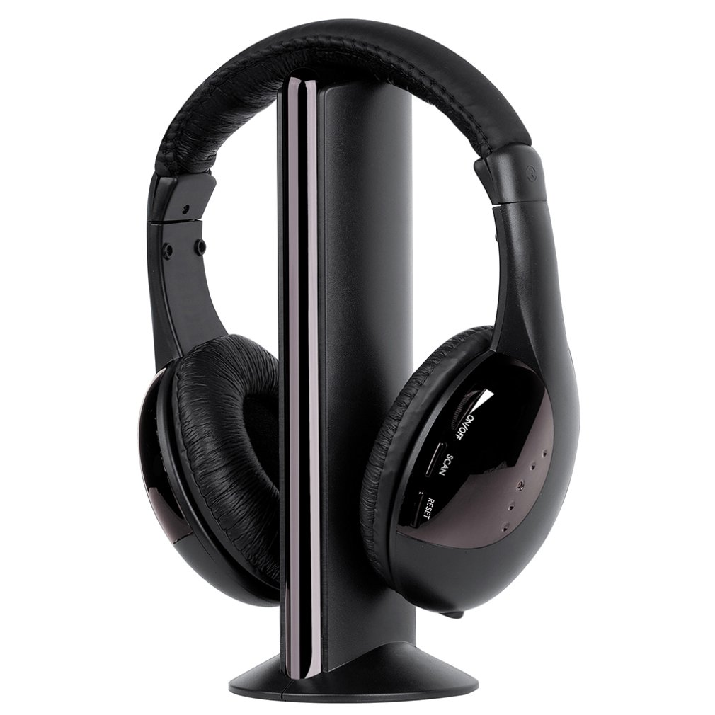 MH2001 Wireless Headset Headphones with Microphone for TV, Computer (RCA Audio Jack In, FM Radio)