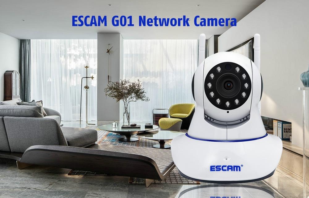 ESCAM G01 1080P 3.6mm Len Infrared PTZ Network Camera - White
