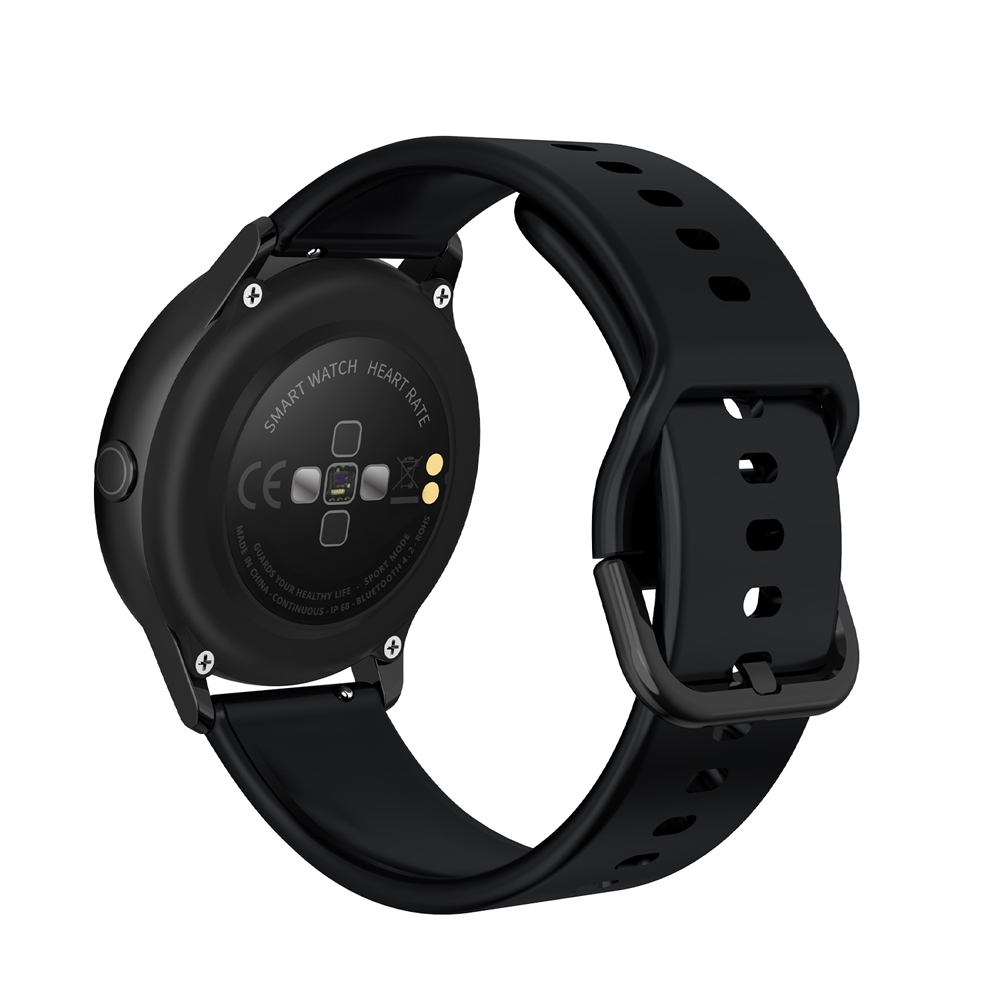 NO.1 DT88 Waterproof Smart Watch with 1.22 Inch Curved Color Screen- Black Silicone Belt