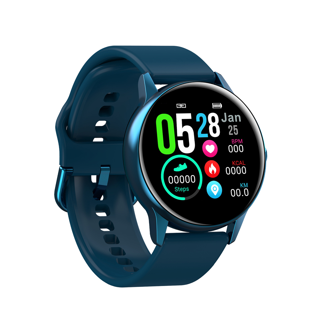NO.1 DT88 Waterproof Smart Watch with 1.22 Inch Curved Color Screen- Peacock Blue Silicone Belt
