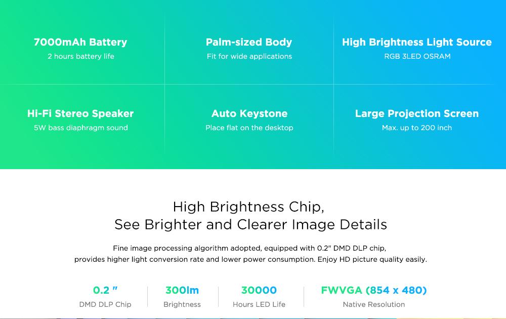 HDP300 DLP 1080P 300 ANSI Lumens Smart Mini Projector Portable Home Cinema with 7000mAh Battery Hi-Fi Stereo Speaker Bluetooth - G