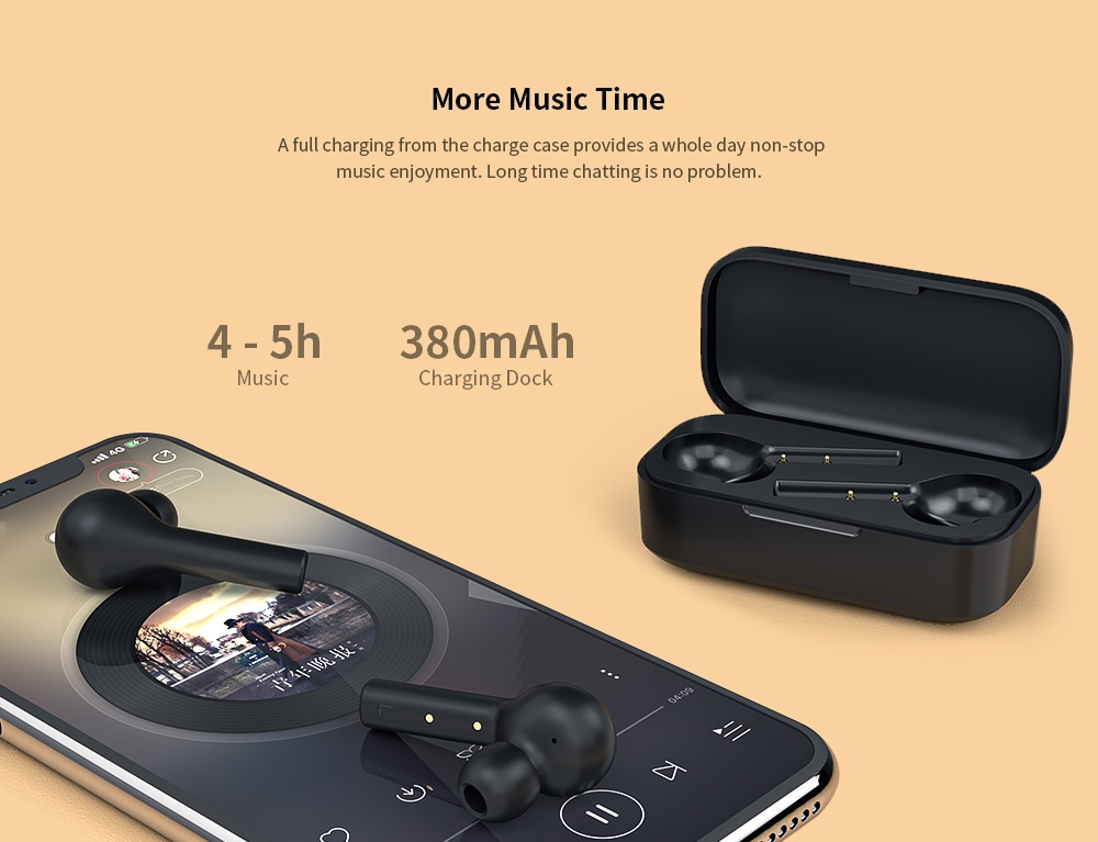 QCY T5 HiFi IPX4 Waterproof Bluetooth 5.0 Binaural In-ear Earphones Wireless Earbuds with 380mAh Charging Case - Black