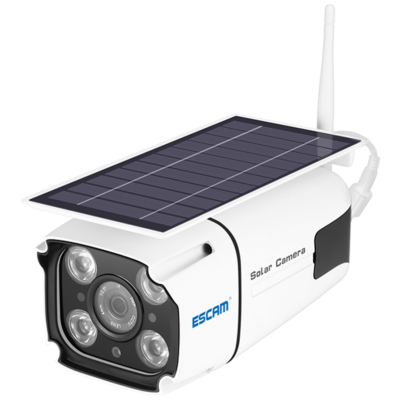 Wholesale ESCAM QF260 1080P Solar Powered Outdoor Surveillance Camera with IP66 Waterproof - White