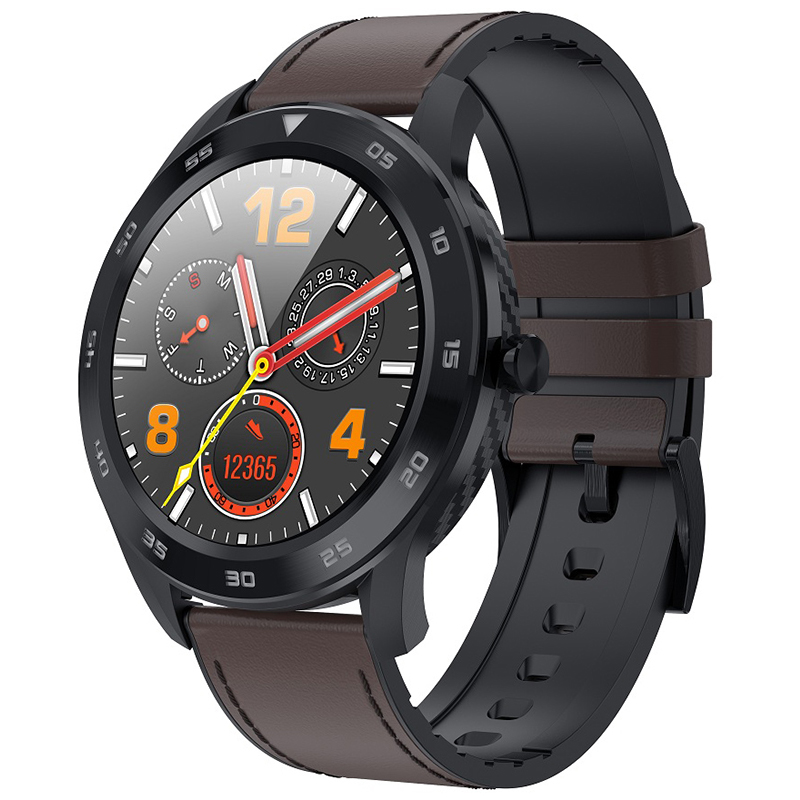 NO.1 DT98 1.3 Inch Full Round Sports Smart Watch with Bluetooth Call, ECG Heart Rate Blood O2 Monitor, IP68 Waterproof - Coffee