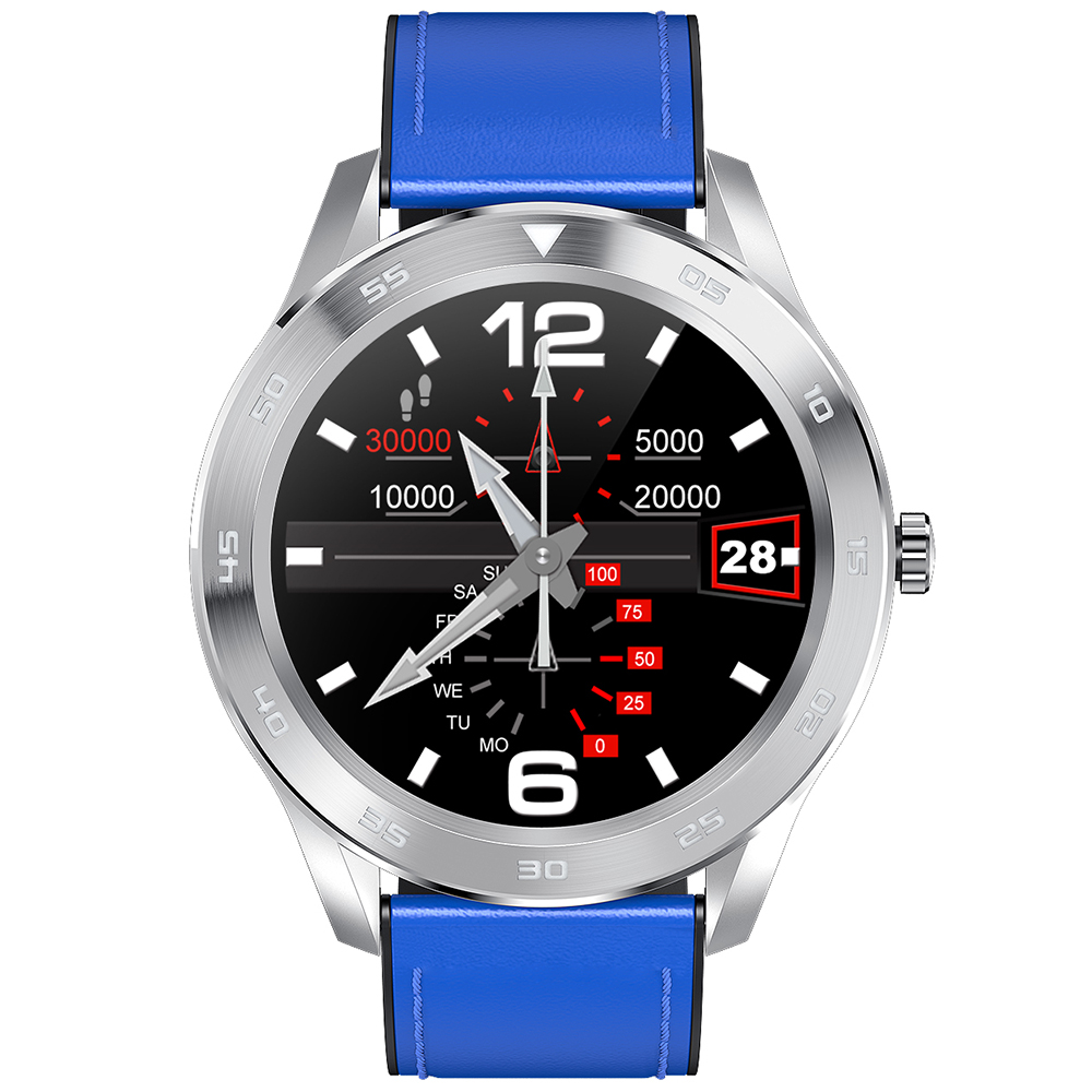 NO.1 DT98 Full Round Sports Smart Watch with Bluetooth Call, ECG Heart Rate Blood O2 Monitor, IP68 Waterproof - Blueberry Blue