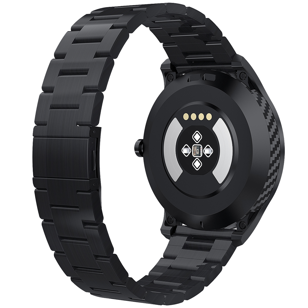 NO.1 DT98 Full Round Sports Smart Watch with Bluetooth Call, ECG Heart Rate Blood O2 Monitor, IP68 Waterproof - Black
